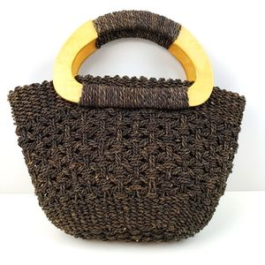 White Stag Brown Straw Bag with Wood Handl…